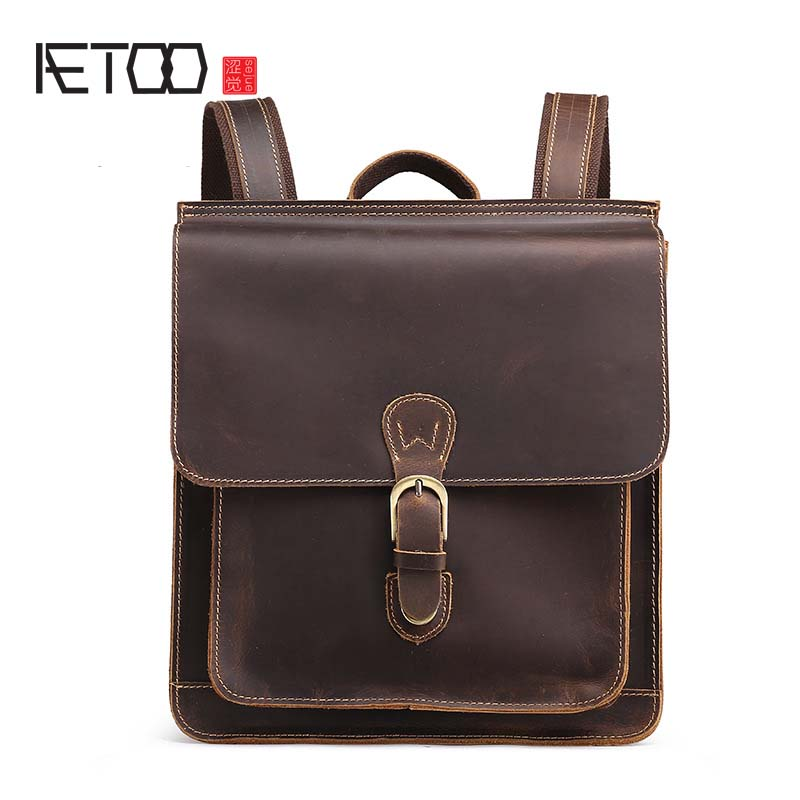 AETOO New Genuine leather backpack women crazy horse leather men shoulder bag leather retro backpack travel bag new genuine leather women oil nubuck retro women backpack casual backpack casual shoulder bag bucket bag a4625
