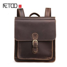 AETOO New Genuine leather backpack women crazy horse leather men shoulder bag leather retro backpack travel bag недорго, оригинальная цена