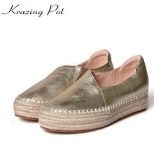 Krazing Pot genuine leather shallow round toe Chinese designer increased med heels women straw beauty casual leisure shoes L71(China)