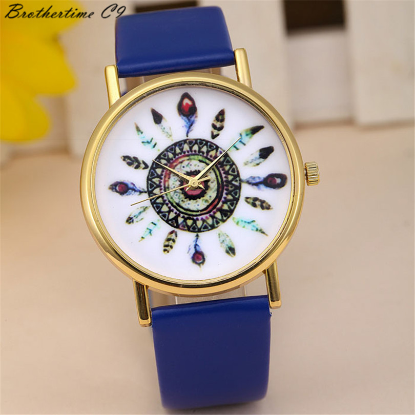 2018 New Fashion Wanita Mode Feather Dial Kulit Band Quartz Analog - Jam tangan wanita - Foto 1