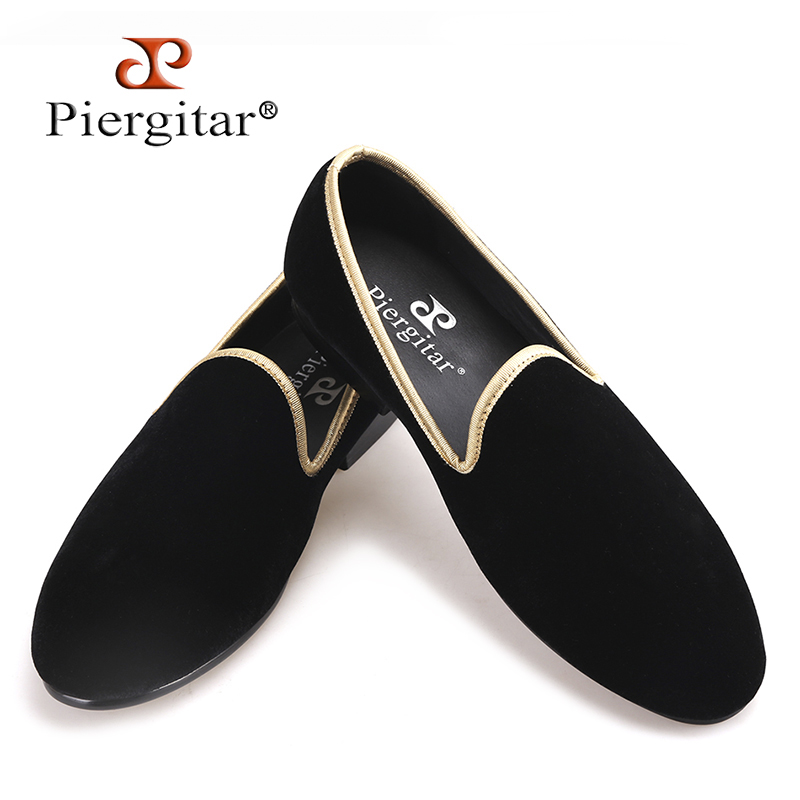 Piergitar 2018 new arrival handmade men black velvet shoes fashion party and wedding men dress shoes plus size men's loafers piergitar new arrival men black velvet shoes with black patent leather toe rivets prom and party men dress shoes male s loafers