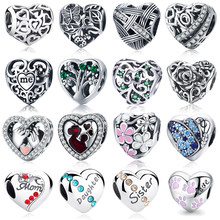 Authentic 925 Sterling Silver Heart Shape Beads Fit pandoras Charm Bracelet Pendants DIY Original Jewelry(China)