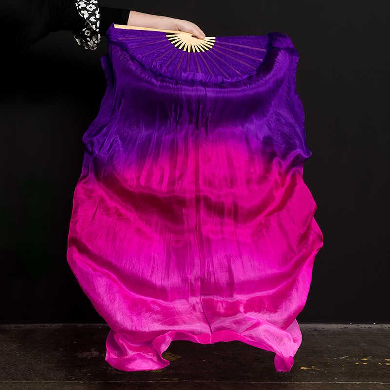 어린이 성인 손으로 만든 화려한 실크 대나무 불꽃 배꼽 춤 긴 접는 팬 베일 아트 다채로운 보라색 핑크 무료 배송