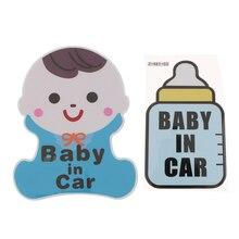 2 Pcs/set Baby in Car Pattern Milk Bottle Children Sign Body Window Decal Stickers Safety Caution Vinyl