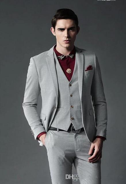 New Design Men Wedding Suits Groom Formal palace Dress Grey terno ...
