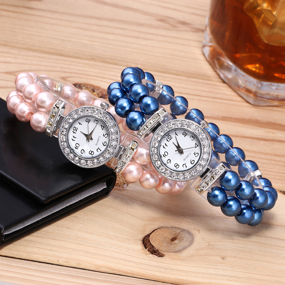 Ladies Watch Fashion Women Watch Casual Pearl String Strap Quartz Rhinestone Wrist Female Gift Clock Relogio Feminin Reloj Mujer