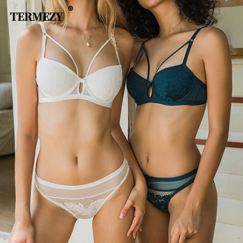 TERMEZY Brand Underwear Women Bras Lace Lingerie set Embroidery Sexy Lingerie Push-Up Bra Set Underwear 2019 new lace bra set plus size sexy padded bras women bra sets floral push up underwire bras underwear women lingerie set