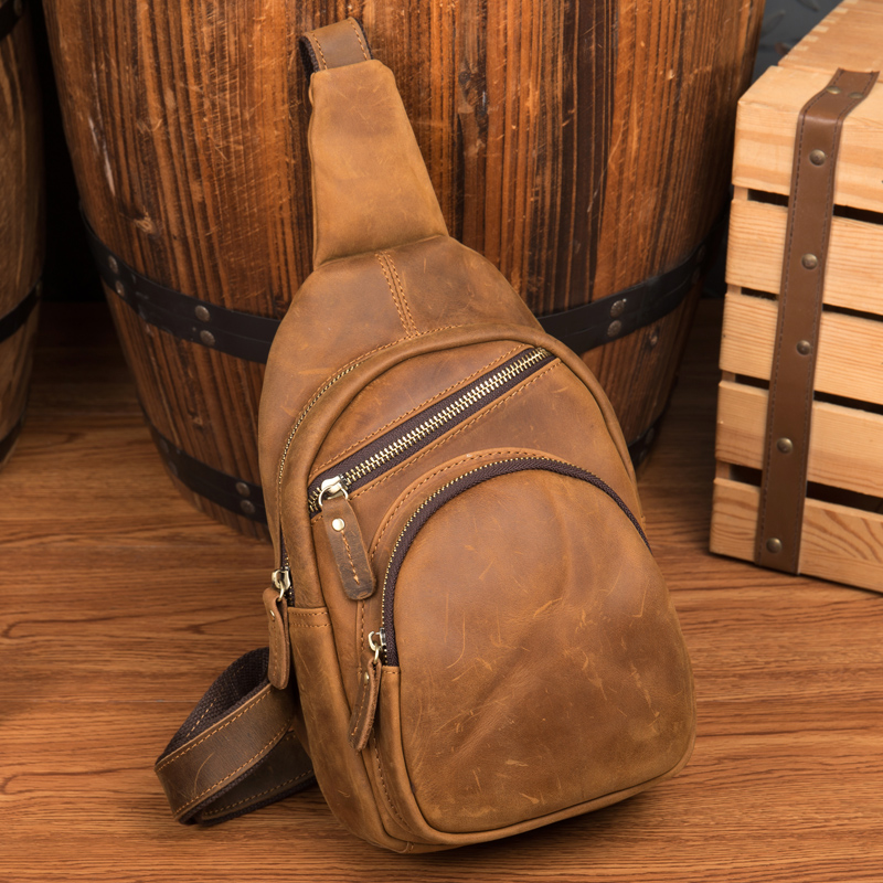 Casual Messenger Bag Men Chest Pack Single Shoulder Strap Back Bags Genuine Leather Travel Men Crossbody Bags Vintage Chest Bag man canvas chest bag fashion messenger casual travel chest bag back pack men s single shoulder bags small travel chest pack