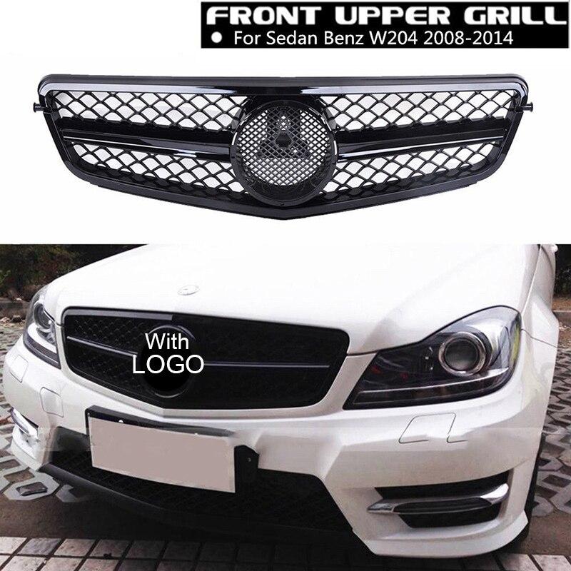 все цены на Matte/Gloss Black Car Racing Grille For Mercedes W204 Grill 2008-2014 C300 AMG Emblems Mesh Radiator Front Bumper Lower Modify онлайн