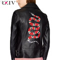 RZIV 2016 outono e inverno feminino casual jaqueta de couro bordado com diamantes