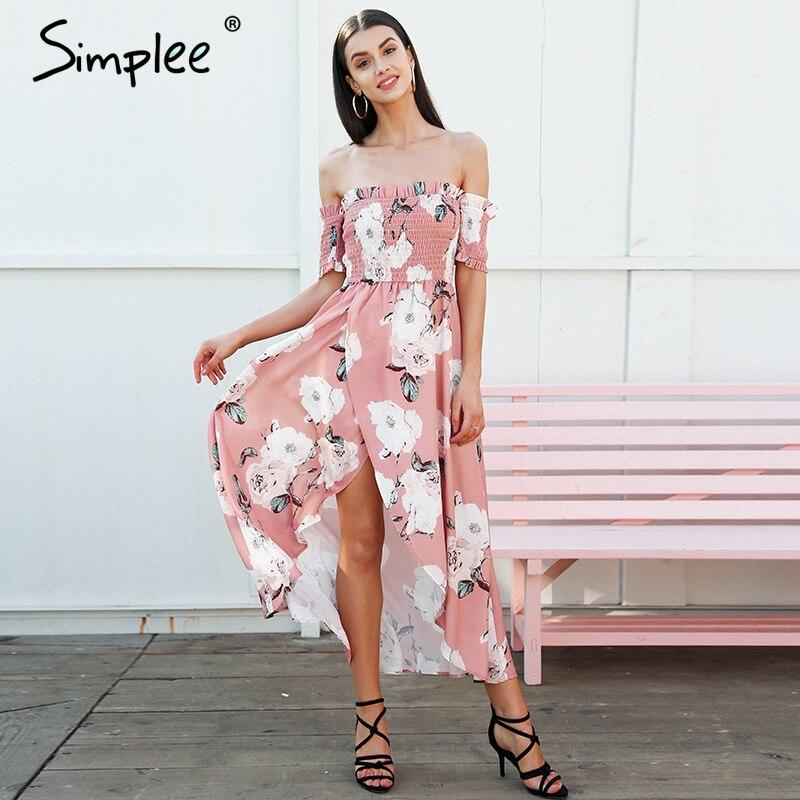 De Vestidos Simplee Verano Rosado Maxi Las Gasa Boho Floral Mujeres Sin Elástico Largo Tirantes Vestido Elegante Estilo Split Causal T1Ef1w