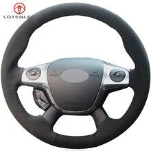 LQTENLEO черная замшевая крышка рулевого колеса для Ford Focus 3 2011- KUGA Escape 2013- C-MAX 2011- Transit 2013