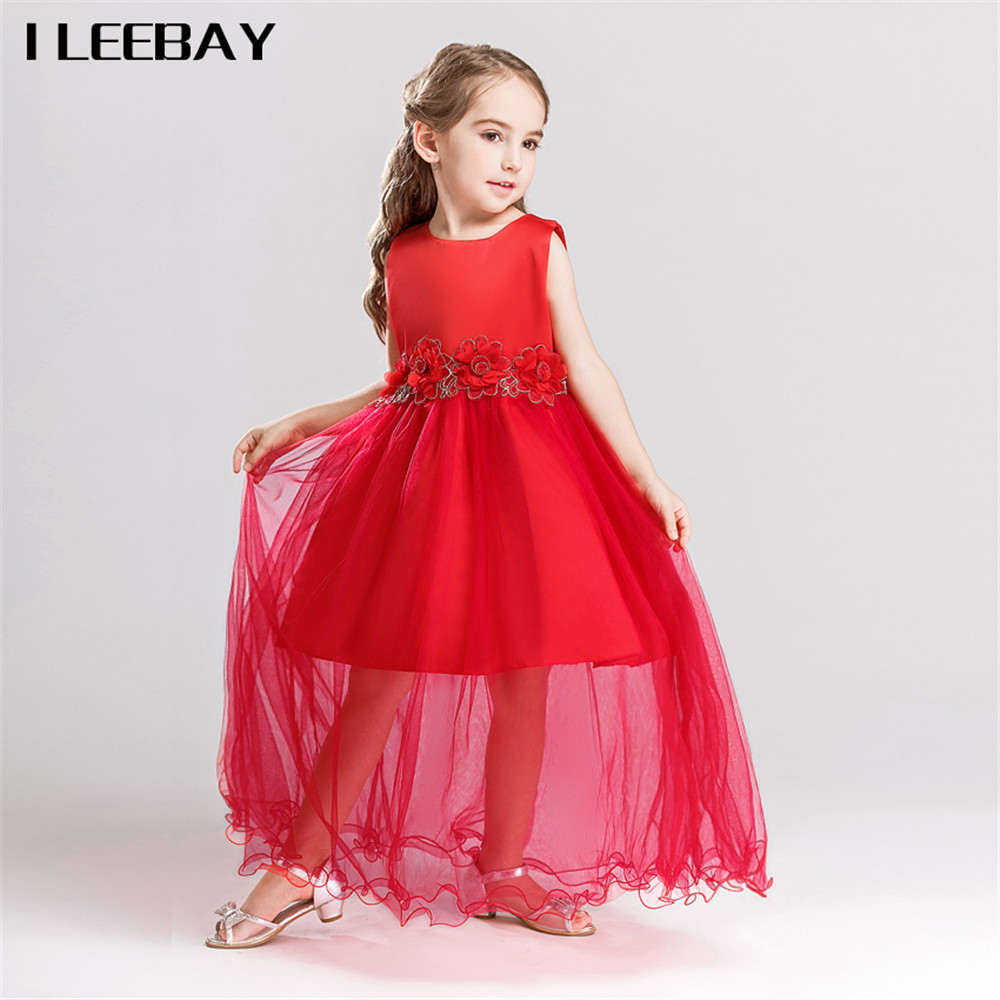 New Girls Dress for Party and Wedding Kids Flowers Lace Princess Dress Big Bow Tutu Gown Roupas Infantis Menina Toddler Vestidos 2016 summer new baby girls party dress sequin tutu princess dress for girl suit 2 7t kids white roupas infantis menina