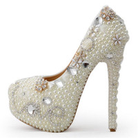 8cm/11cm/14cm Women Fashion Pearl Wedding shoes White crystal Rhinestone Bridal Shoes High heeled shoes