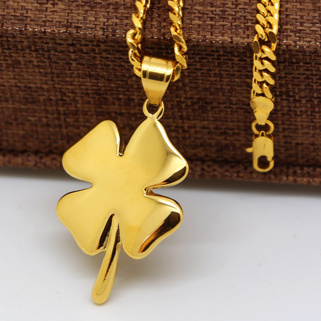 Shamrock necklace pure yellow gold color four leaf clover irish shamrock necklace pure yellow gold color four leaf clover irish lucky charm with cuban aloadofball Gallery