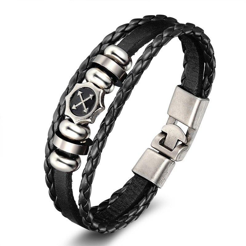 18 New Fashion 3 layer Leather Skull Bracelets&Bangles Handmade Round Rope Turn Buckle Bracelet For Women Men Charm bracelet 3