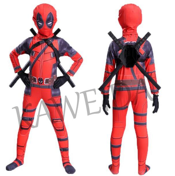 Image 2 - 2019 deadpool costume for kids child boys Superhero Spandex Suit Party Halloween Cosplay Costume With Swords Gloves