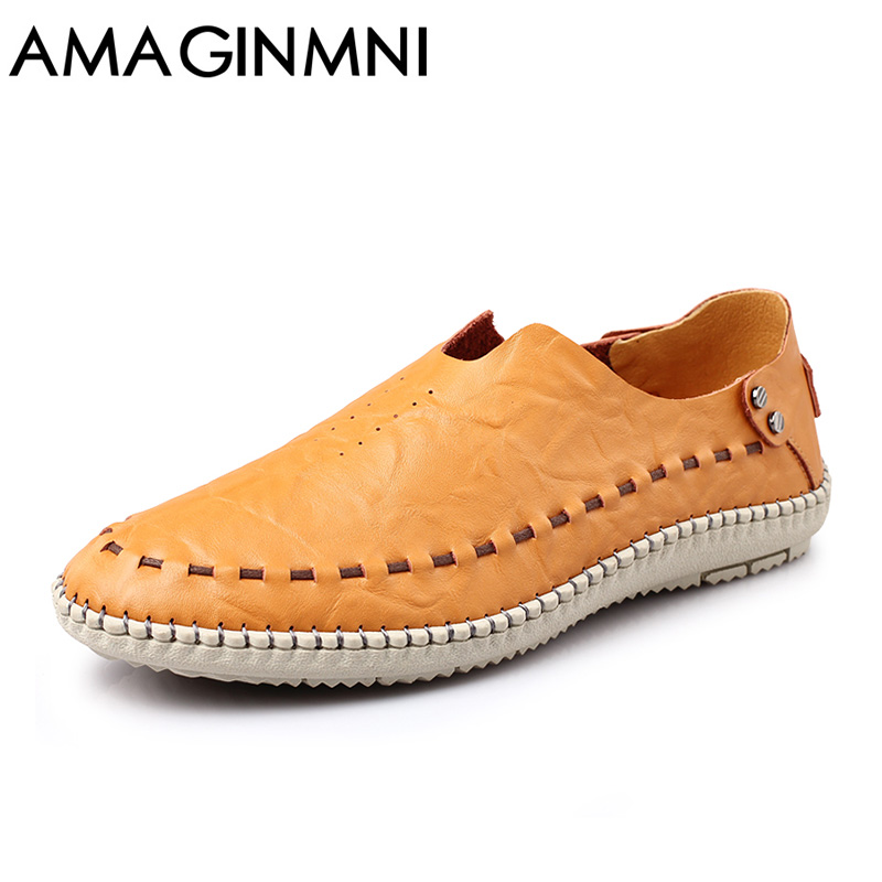 AMAGINMNI 2017 New Comfortable Casual Shoes Loafers Men Shoes Quality Split Leather Shoes Men Flats Hot Sale Moccasins Shoes cbjsho brand men shoes 2017 new genuine leather moccasins comfortable men loafers luxury men s flats men casual shoes