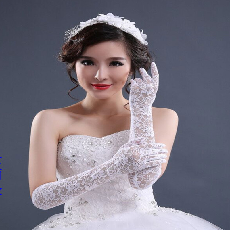 Wedding Dress Gloves Lace White Finger Glove 2019 Bridal Lace Long Princess Glove For Wending Accessories Bride Sheer Tulle Gala