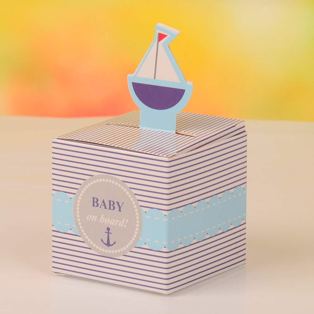12Pcs Baby On Board! Pop-Up Sailboat Boy Baby Candy Box Blue Birthday Party Baby Shower Decorations Kids Favor Gift Box
