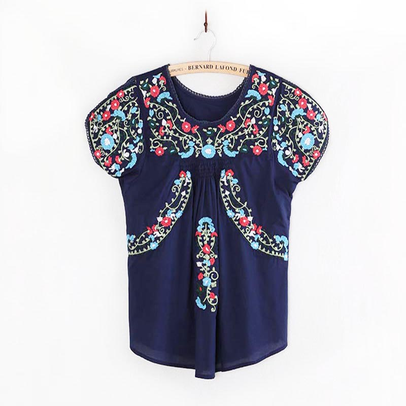 Women Vintage Hippie Oaxacan Mexican BOHO   Blouse   Floral Embroidered Ethnic Tunic COTTON Retro Tops   Blouses     Shirts   Femme Blusas
