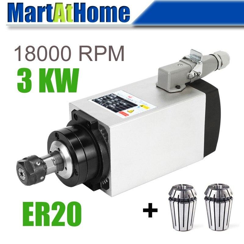 3 кВт ER20 с воздушным охлаждением CNC квадратный Электрический Шпиндельный двигатель высокая скорость точность для гравировки фрезерования измельчения # SM693 @ SD