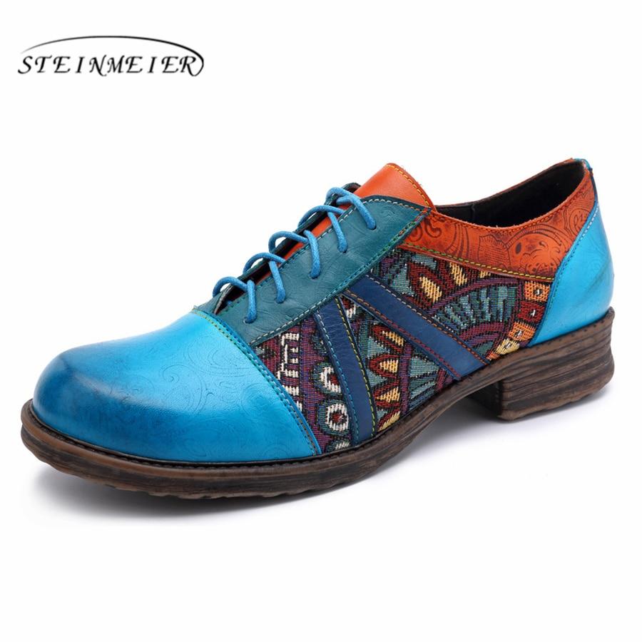Zapatos oxford hechos a mano de mujer de cuero genuino brogue diseñador casual vintage Retro señora zapatos planos para mujer azul primavera 2019-in Zapatos planos de mujer from zapatos    1