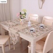 Vezon Verkauf Elegante Blumen Voll Stickerei Tischläufer Dekoration Flagge Läufer Esszimmer Cutwork Gestickte Tuch Tischsets