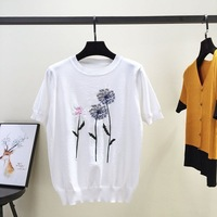 2018 summer new style Korean version of loose Embroidered Flower T shirt, T shirt, women's short sleeved N81265