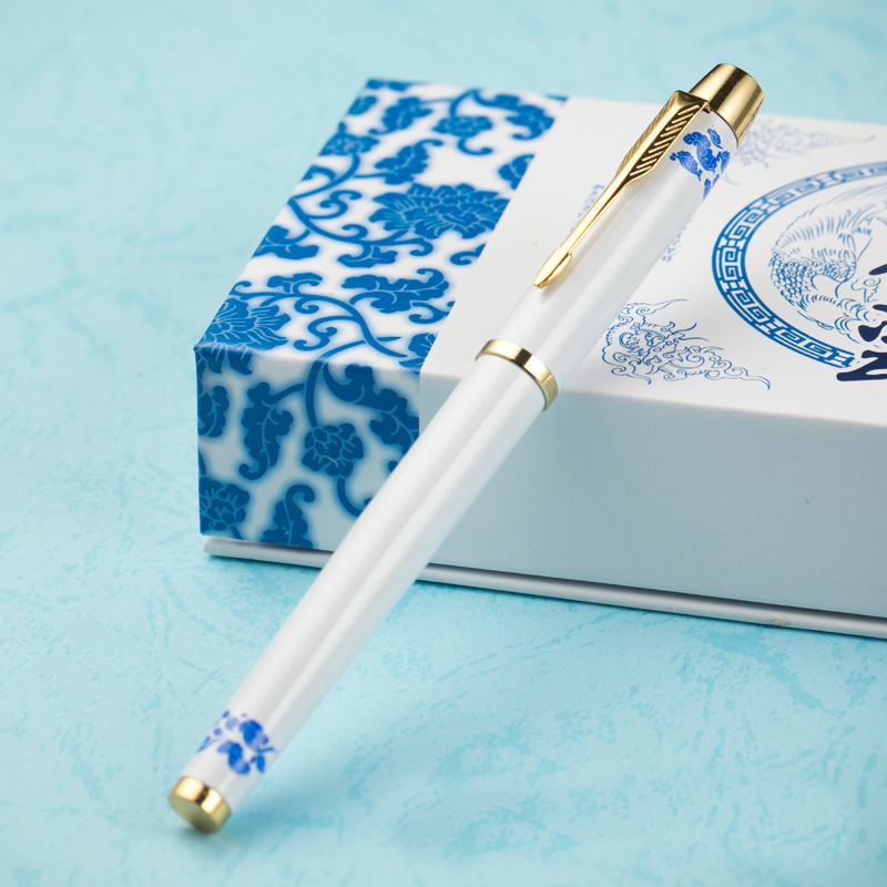 FGHGF Chinese blue and white porcelain gel pen.Office & School stationery Supplies , Writing Metal gifts pen gre verbal and writing chinese edition
