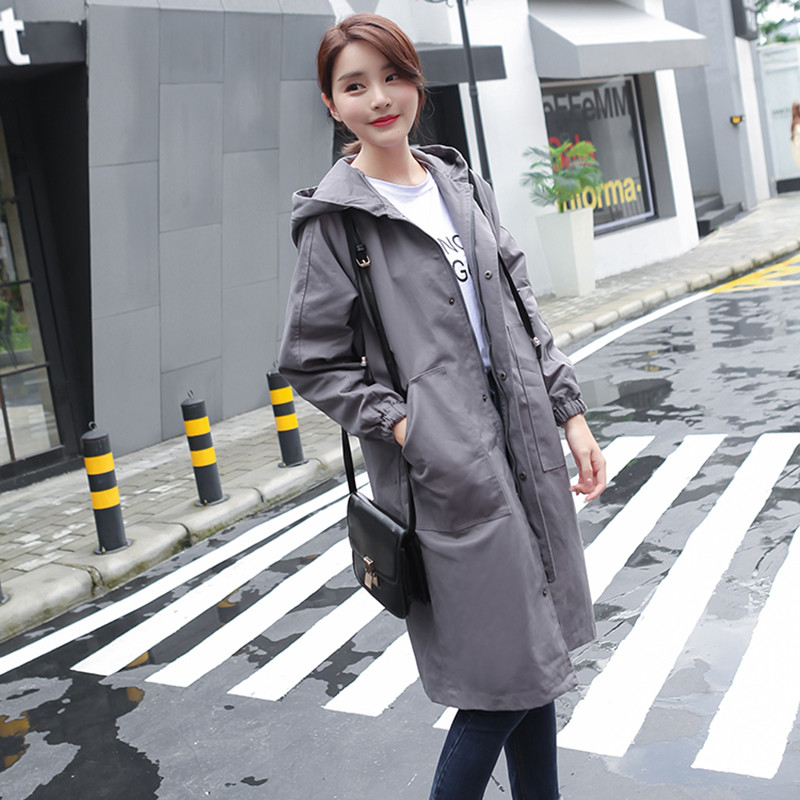 Spring Fashion Casual   Trench   Coat Women Full Sleeve Solid Hooded Windbreaker Lady Autumn Long Korean Loose Overcoat Plus Size