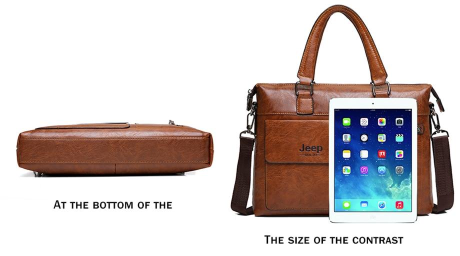 HTB1n7M1eBKw3KVjSZTEq6AuRpXa1 Famous Designer JEEP BULUO Brands Men Business Briefcase PU Leather Shoulder Bags For 13 Inch Laptop Bag big Travel Handbag 6013