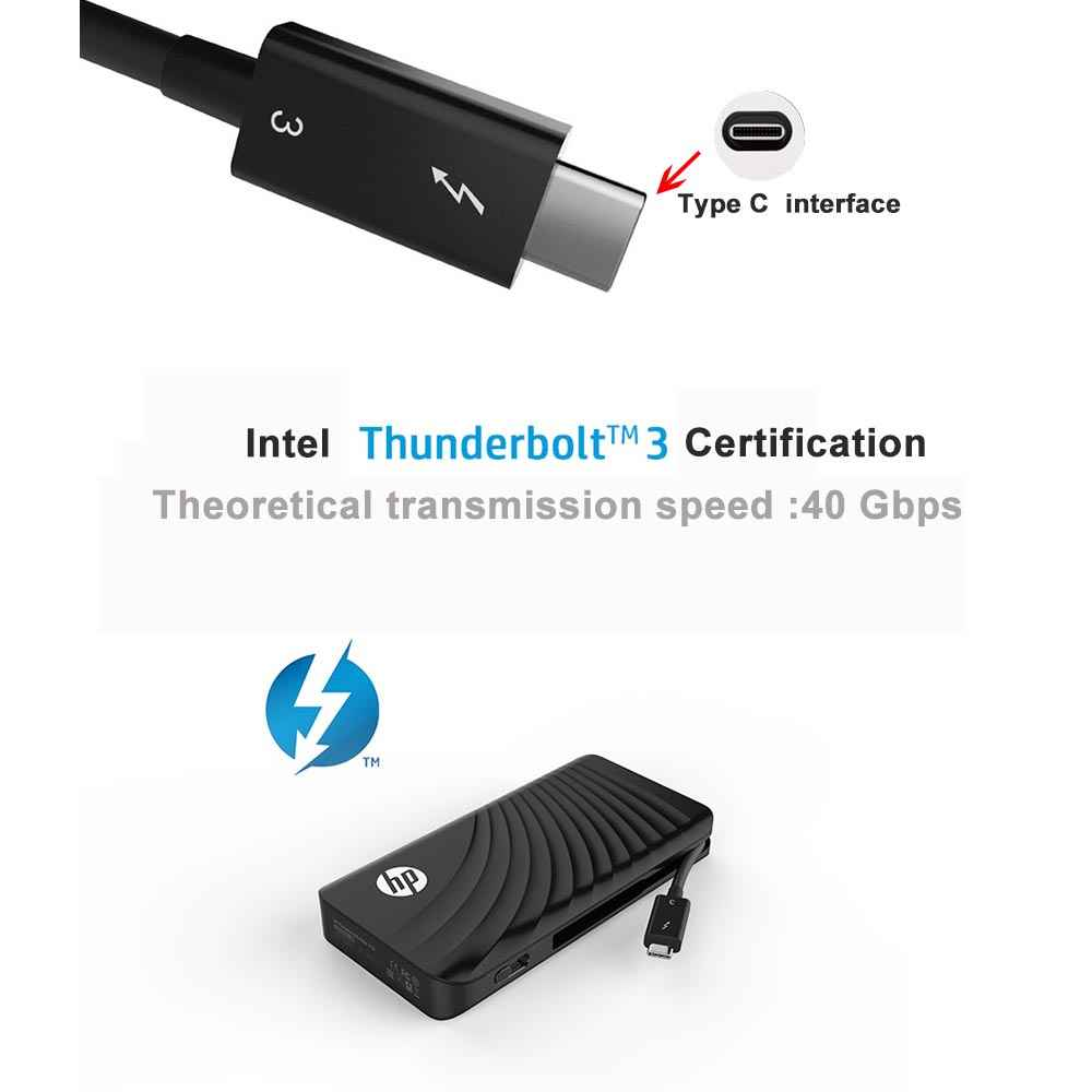 HP Portable SSD P800 512GB External Solid State Hard Disk Thunderbolt 3  PCIe NVMe ssd Type C ports for intel mac Computer HDD