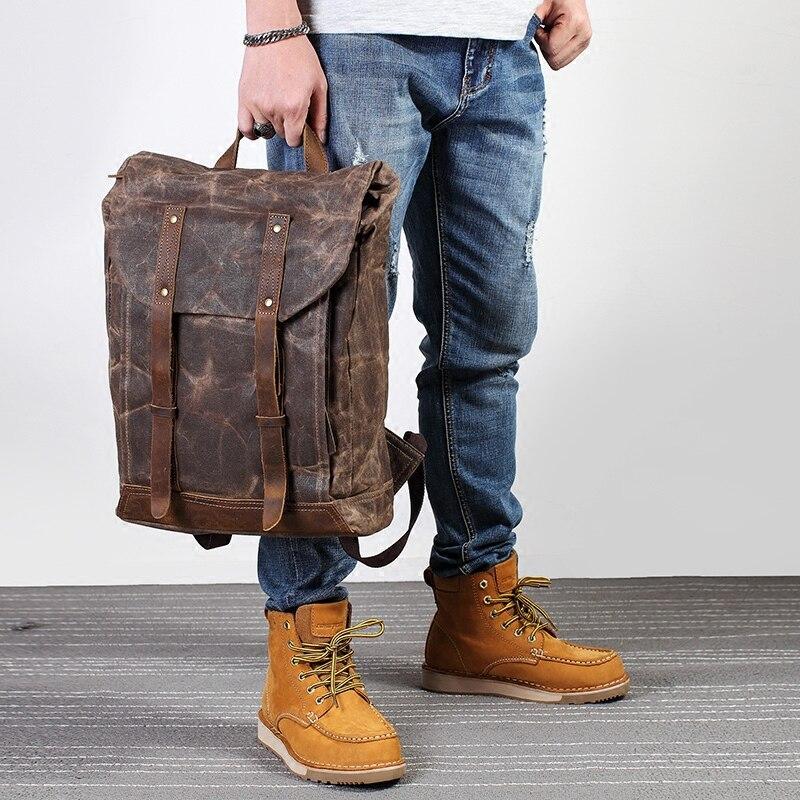 Men Vintage oli leather Waxed canvas shoulder bag trend leisure bag literary computer waterproof women bag