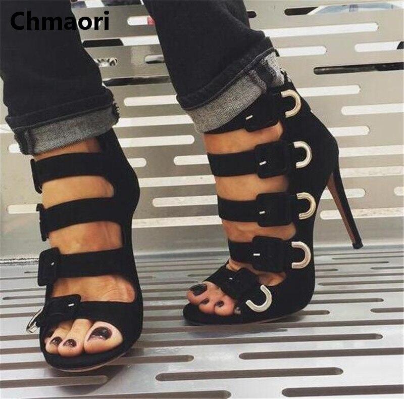 2018 summer fashion Striped buckle split design pure peep toe thin heel high heel cover heel ankle short boots