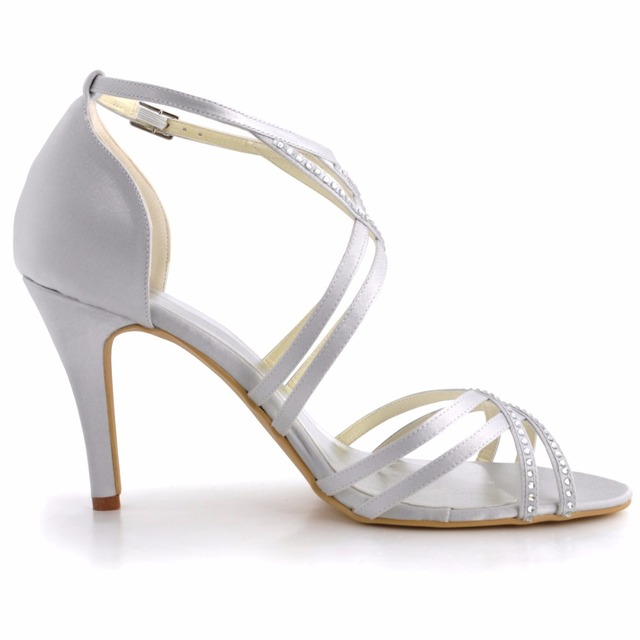beff985e67a2 summer Women Sandals EP11062 Ivory Size 7 11 Peep Toe Cross ankle Strap  crystal High Heel Satin Evening Dress wedding Shoes