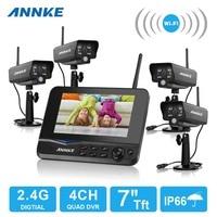 Annke 4ch 7インチtftデジタル2.4グラム4ピースワイヤレスwifi ipカメラビデオベビーモニターdvrセキュリティシステム監視キッ
