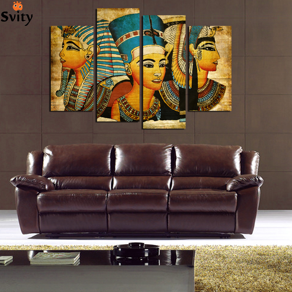 4 Pcs Egyptian Pharaoh for Living Room painted Modern Abstract Painting On Canvas Wall Art Unframed home decor Direct Selling