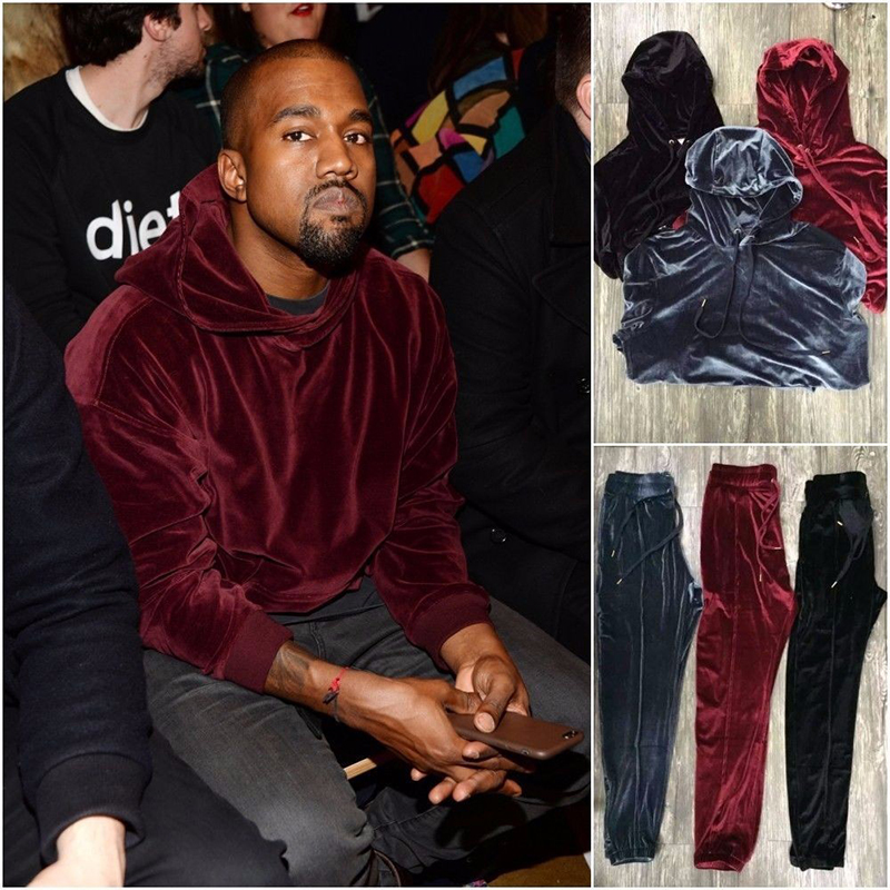 Mens Velvet Hooded Hoodies Kanye West Streetwear Solid Color Velour Hoodies Men Pullovers Hip Hop Sweatshirts Black/Red/Gray