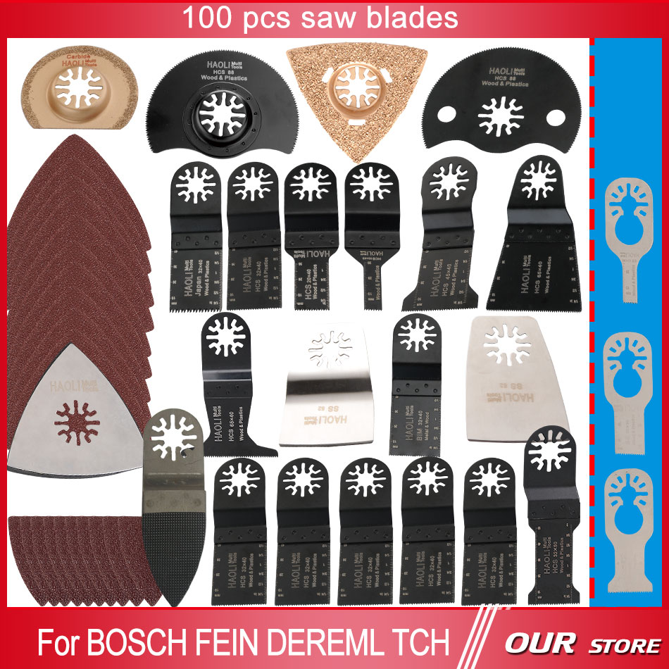 ФОТО Hot sale 100 pcs oscillating multi tool saw blades accessories fit for multifunction electric tool as Fein power tool,Dremel etc
