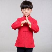 النمط الصيني تانغ دعوى للبنين الاطفال hanfu أداء الربيع ملابس طويلة الأكمام الكتان تنفس 100-150 سنتيمتر صبي قمصان