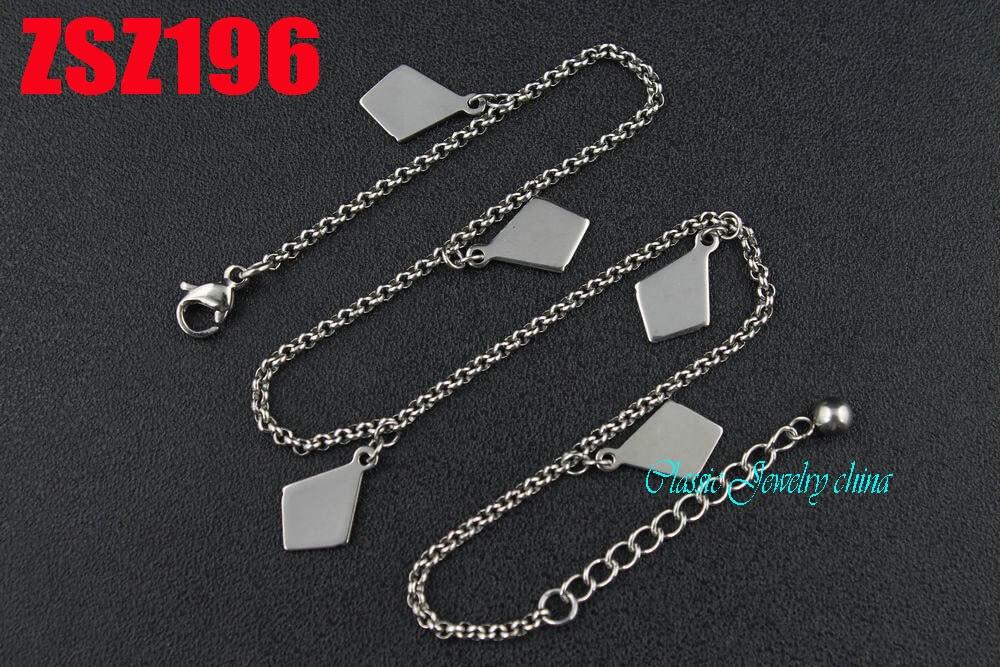 72c6ac3d8 140 ملليمتر-210 ملليمتر المعين مع رولو سلسلة الفولاذ المقاوم للصدأ هدفين  الدانتيل الأزياء سوار مجوهرات الأزياء 20 قطع ZSZ196