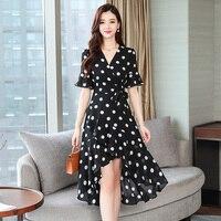 Fashion casual short sleeve chiffon dress Elegant Slim v neck irregular summer dress Country Club Polka Dot Dress vestidos