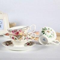 유럽 스타일의 고급 세라믹 커피 컵 접시 높은 품질 뼈 중국 영어 오후 차 컵 커피 컵 세트