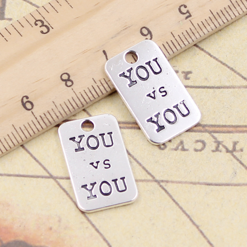 10pcs Charms Plates You V S You 21x13mm Tibetan Silver Plated Pendants Antique Jewelry Making Diy Handmade Craft
