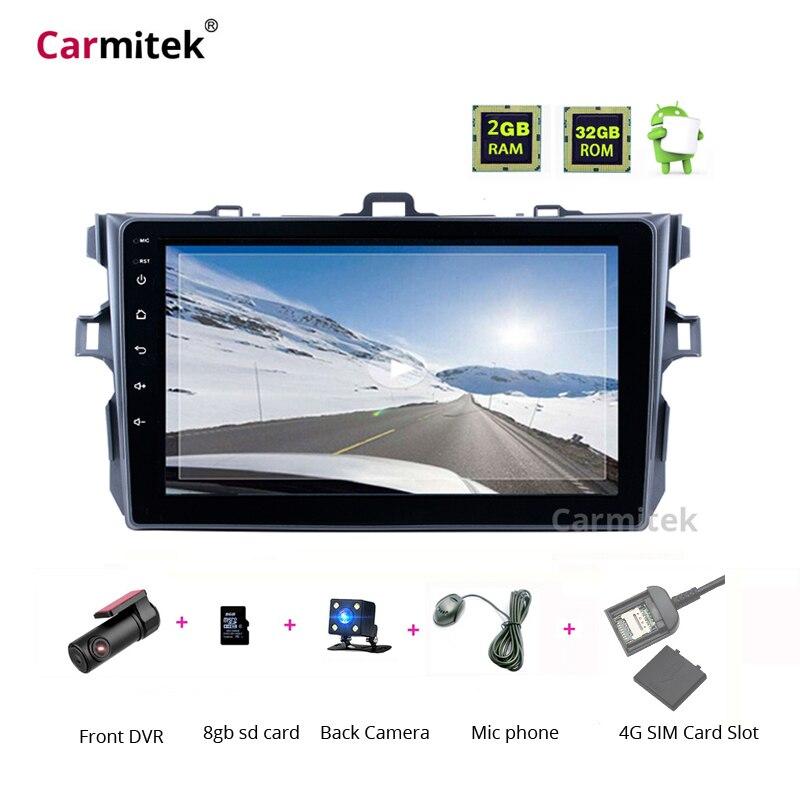 Autoradio central multimédia GPS système de Navigation unité de tête Radios Android écran tactile 2 din lecteur DVD pour Toyota Corolla 2007-2013