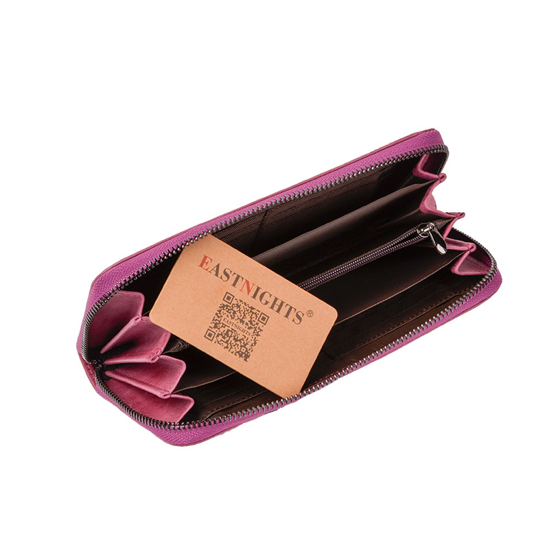 EASTNIGHTS New Women Wallets Brand Design High Quality Genuine Leather Wallet Zipper Fashion Long Purse TW2647 in Wallets from Luggage Bags