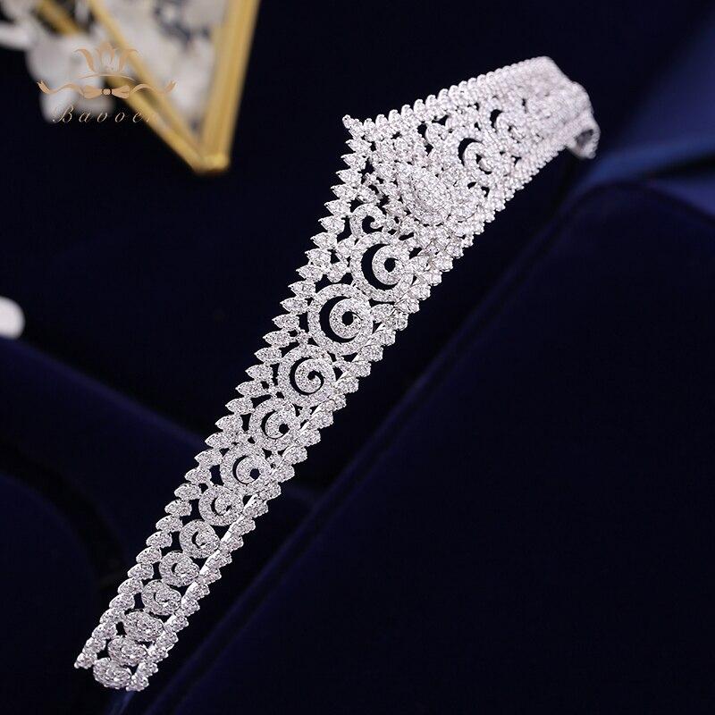Européenne Simple Mousseux Plein Zircon De Mariée Diadèmes Couronnes Plaqué Cristal De Mariage Bandeaux Pour Les Mariées de Demoiselle D'honneur Bijoux - 2