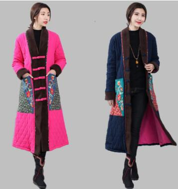 Women Retro Outerwear Long Jackets Chinese Tradition Cotton Padded Trench Coat Linen Cotton Padded Maxi Long Coats Parka Loose in Tops from Novelty Special Use