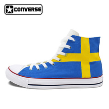 Sweden Flag Shoes Converse All Star Custom Hand Painted High Top Canvas Sneakers Men Women Unique